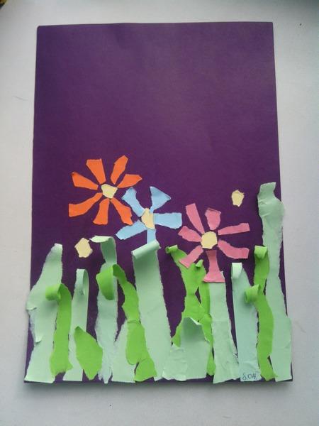 Открытки из цветной бумаги и салфеток
