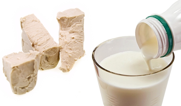 Дрожжи, молоко
