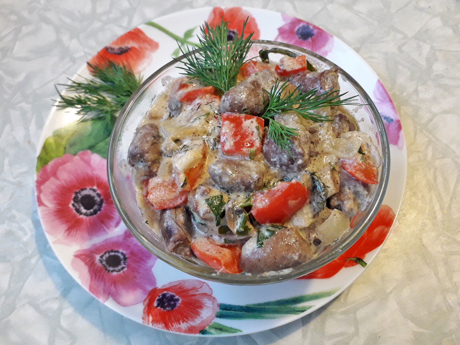 Куриные сердечки с грибами пошаговый рецепт