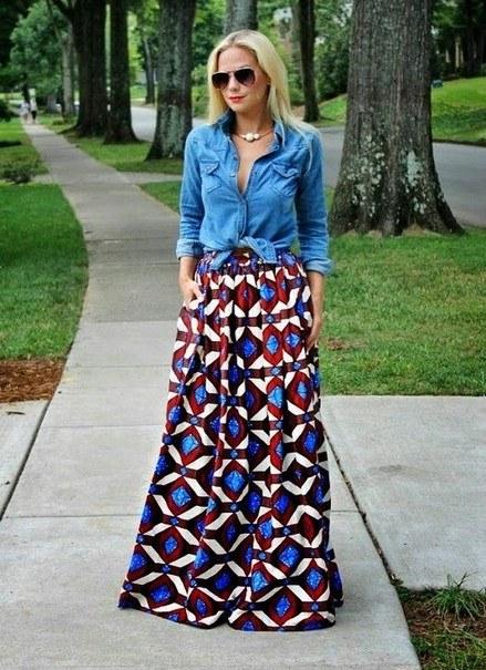 Длинная юбка с принтом