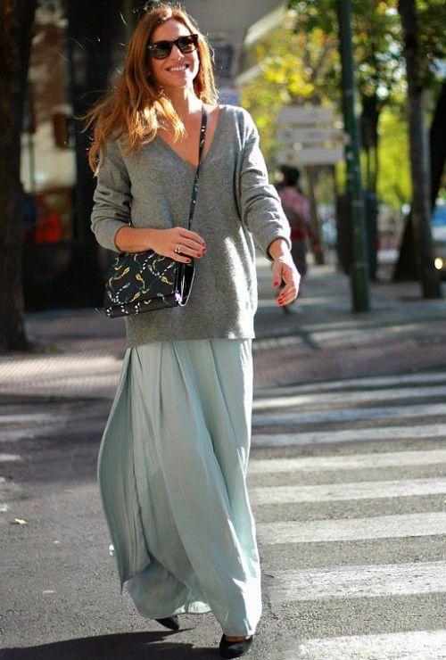 Длинная юбка со свитером