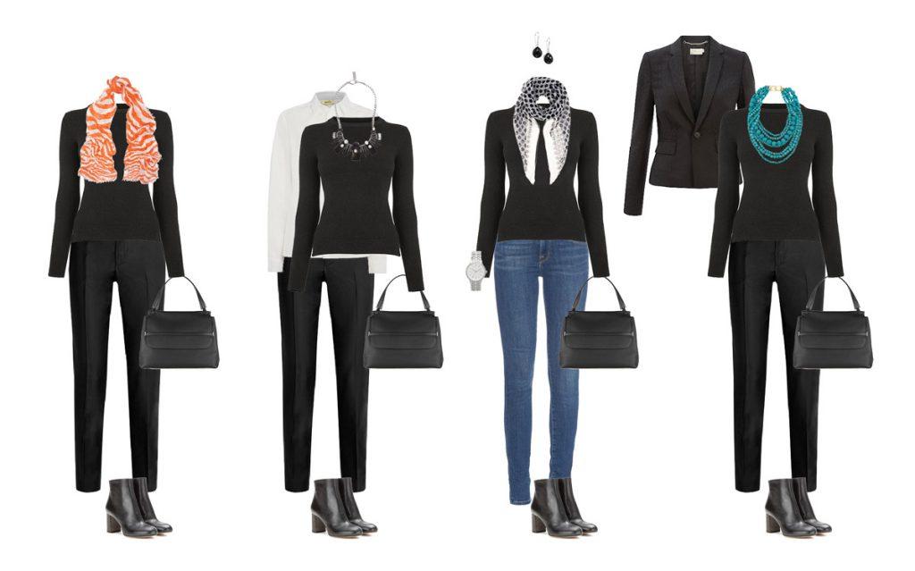 Капсула гардероба в черных оттенках с брюками и джинсами